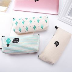 Cute Cactus Expression Small Pencil Case Inverted Trapezoid Stationeries Bags for Students cartoon fabric bag rulo kalemlik School Pencil Case, Cute Pencil Case, Cute School Supplies, Office And School Supplies, Tumblr School Supplies, Pencil Bags, Pencil Pouch, Stationary School, School Accessories