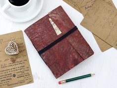 Vintage Leather Journal made from upcycled/repurposed leather and hindi script paper Leather Notebook, Leather Journal, Gift Of Time, Perfect Mother's Day Gift, Unique Presents, Leather Bags Handmade, Vintage Valentines, Graduation Gifts, Vintage Leather