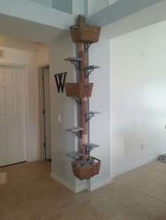 DIY 8' CAT TREE  just need a tube, some rope and shelves! The upholstery some plush fabrics on your steps. A great way to save a couple hundred bucks...