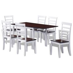 vidaXL Dining Set Extending Table and 6 Chairs Seat Kitchen Wood Brown and White Glass Dining Set, Buy Dining Table, Corner Dining Set, Round Dining Set, Kitchen Table Chairs, 7 Piece Dining Set, Extendable Dining Table, Kitchen Sale, Kitchen Wood