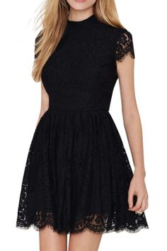 Backless Short Sleeve A-line Black Lace Dress