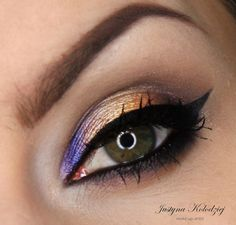 'Center Stage On The Eyes' look by Justyna Kolodziej using Makeup Geek's Corrupt, Mocha, and Vanilla Bean eyeshadows along with Center Stage and Magic Act foiled eyeshadows.