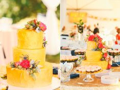 Yellow wedding cake | Photo by Love Lit Wedding Photography | Read more - http://www.100layercake.com/blog/?p=71921