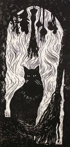 Perfect for Halloween or black cat lovers, The Witches Cat depicts a cat, a broomstick, and hanging herbs silhouetted against the window of a
