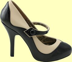 Classic and vintage with a two tone that would give the illusion of longer legs.