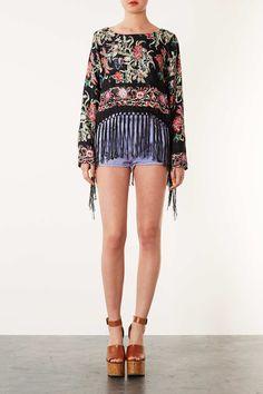 Kimono Print Jacquard Top - Tops - Clothing - Topshop