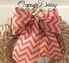 8 red and brown Burlap Chevron wreath bow  by OOPSYDAISYDESIGNS, $9.00