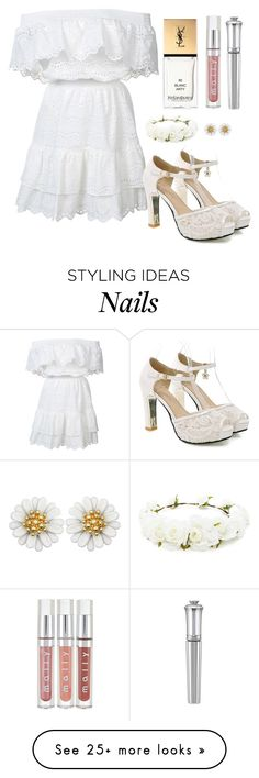 """Outfit #1385"" by ivanna1920 on Polyvore featuring LoveShackFancy, Yves Saint Laurent, Morgan Lane and Forever 21"