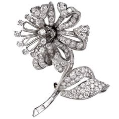 Art Déco Diamond Flower Platinum Brooch Pin Circa 1940 | 1stdibs.com