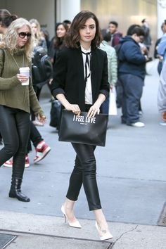 Lily Collins out in New York.
