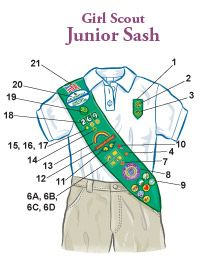 Insignia Placement Junior Sash #girlscouts