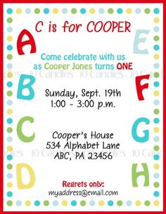 Alphabet Invitation  PRINTABLE Invitation  ABC by 10candles, $15.00