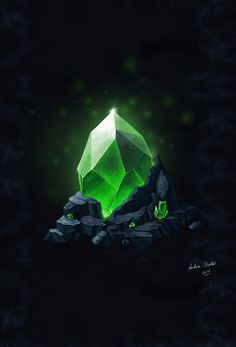 Illustration - Emerald in Stone (Smaragd im Stein) - Andrea Baitz Anime Weapons, Fantasy Weapons, Crystal Illustration, Crystal Drawing, Game Gem, 3d Texture, Game Character Design, Game Concept Art, Environment Concept Art