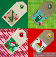 Christmas Gift cards paper pieced block, Pattern can be found: http://www.craftsy.com/pattern/quilting/other/gift-tag-/81563