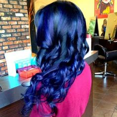 Two toned blue balayage! This is so pretty!