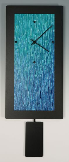 Teal Ocean Blend Pendulum Clock by Linda Lamore: Painted Metal Clock available at www.artfulhome.com
