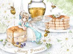 Honey fairy princess with blond hair in pigtail odango, green eyes, turquoise blue dress, & iridescent wings by manga artist Shiitake. Kawaii Anime, Kawaii Art, Manga Anime, Anime Art, Cute Food Art, Chibi Food, Anime Rules, Anime Child, Anime Girls