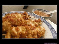 Sate Ayam mit Sambal Kacang - indonesische Hähnchenspiesse mit Erdnuss-Sauce