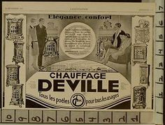 1928-CHAUFFAGE-CAST-IRON-HOME-HEAT-STOVE-METAL-NOUVEAU-FRENCH-ART-AD-22898-AD