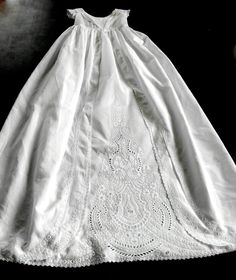 Antique Ayrshire Christening Gown Lavishly Hand  Embroidered. $1,125.00, via Etsy.