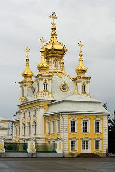 Peterhof's Grand Palace Church - The Peter and Paul Church.   Built 1747/1751 by Bartolomeo Rastrelli. The palace church was a popular place for weddings and baptisms of members of the Russian Imperial family. All the children of Nicholas II, with the exception of the eldest daughter, Grand Duchess Olga, were born at Peterhof, +baptized in the church. In 1904, the Tsarevich Alexei was born, his baptism also took place here, with much pomp and ceremony befitting the heir to the Russian throne