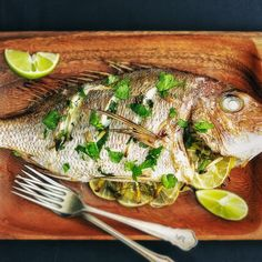 The original fast food: a whole fish, filled with pan-Asian flavours, given a quick blast in the oven. John Dory, Speedy Recipes, Coriander Cilantro, Whole Eggs, Latest Recipe, Side Salad, In The Flesh, Fish And Seafood, Seafood Recipes