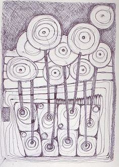 Hundertwasser inspired drawing, by Angie Hughes