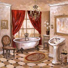 Parisian Bath Art Print by Gregory Gorham Parisian Bathroom, Bathroom Red, Bathroom Prints, Small Bathroom, Red Bathrooms, Rental Bathroom, Bathroom Paintings, Glass Bathroom, Bathroom Cabinets