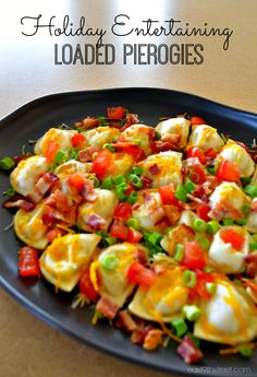 Loaded Pierogies - a delicious game day appetizer!