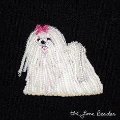 MALTESE beaded white beaded dog art pin/ pendant by thelonebeader, $95.00
