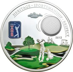 Uncertified Silver World Coins Pga Tour Golf, Commemorative Coins, Cook Islands, Golf Ball, Silver Coins, 3 D, Give It To Me, Tours, Dibujo
