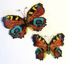 Beaded Peacock Butterflies by Karen Parker