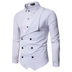 Men Shirt Brand Personality Double-breasted Fake Two Shirt Formal Solid Color Slim Fit Cotton Long Sleeve Dress Shirts Camisa Slim Fit Dress Shirts, Slim Fit Dresses, Fitted Dress Shirts, Cool Shirts For Men, Stylish Shirts, Casual Shirts, Men Shirts, Nigerian Men Fashion, African Men Fashion