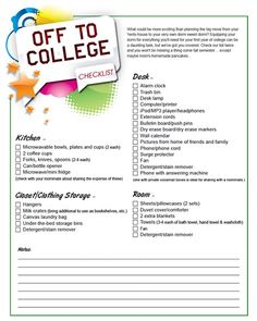 Off to College Checklist