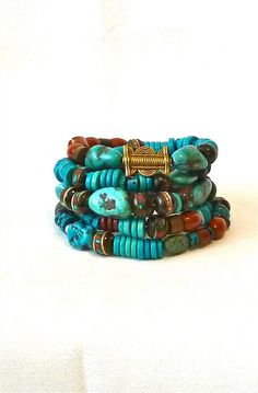 SALE! TRIBAL Beaded Bracelets- Bohemian Stackable Bracelets - Pair Stunning Bracelets - Turquoise -- Greek Ceramic l - African Beads, $93 TheJoyMoosCollection