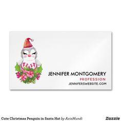 Cute Christmas Penguin in Santa Hat Business Card Magnet Santa Hat, Keep It Cleaner, Penguins, Holiday Cards, Business Cards, Joy, Cute, Christmas, Christian Christmas Cards