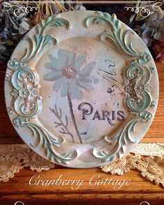 I am loving the new products from ReDesign With Prima by Primamarketing. Had a blast making this wooden plate for the shop. So Parisian! Wooden Plates, Decorative Plates, Wood Chargers, Decoupage, Cold Porcelain Flowers, Iron Orchid Designs, Clay Design, Charger Plates, Diy Frame