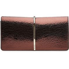 Nina Ricci Textured Leather Clutch (1.710 BRL) ❤ liked on Polyvore featuring bags, handbags, clutches, purses, brown, brown hand bags, special occasion handbags, nina ricci purse, holiday purse and metallic handbags