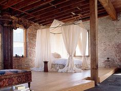 studio, canopi, loft bedrooms, warehous, canopy beds, loft spaces, dream bedrooms, exposed brick, curtain