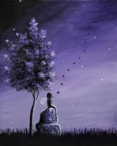 Original Fairy Paintings by Fairy Artist ERBACK - Check our store daily for new artwork, paintings and jewelry designs Purple Painting, Purple Art, Art Violet, Art Mural, Wall Art, Fairy Paintings, Artwork Paintings, Acrylic Paintings, Daisy Art
