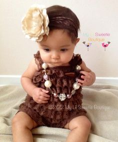 7bf72d436c3 Chocolate Brown Vintage Lace Petti Romper by MyLilSweetieBoutique