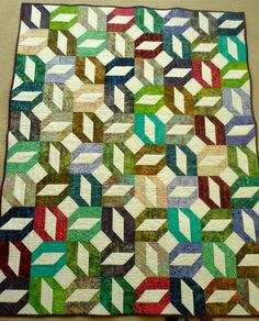 """Picnic from Scrap-Basket Sensations"""" by Kim Brackett Made with Strips Scrappy Batik Quilt Finished! Batik Quilts, Jellyroll Quilts, Scrappy Quilts, Quilting Stitch Patterns, Quilting Designs, Quilt Patterns, Picnic Quilt, Signature Quilts, Straight Line Quilting"""