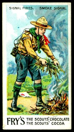 """Fry's Chocolate """"Scout Series"""" (series of 50 issued in 1912) No20 Smoke Signal"""