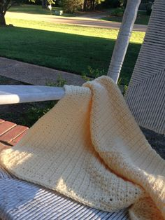 Light Yellow Crochet Baby Blanket on Etsy, $25.00