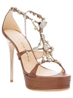 Brown leather sandals from Luis Onofre featuring crystal and metal detailing, an ankle strap with clasp fastening, a round open toe and a stiletto heel.