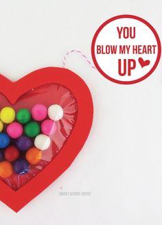 Bubble Gum Valentine idea- You Blow My Hear Up #DIY #Valentine