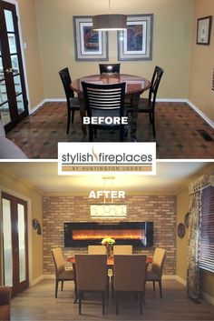 Dining Room re-design by Stylish Fireplaces & Interiors. Reclaimed brick veneer, wire-brushed oak floors, custom draperies, new pocket doors, eight-foot electric #fireplace.