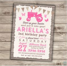 Pink Tractor Birthday Printable Invitations Tractor Country Theme Party Girl 3rd Birthday Cowgirl Tractor Farm Butterfly 2nd Birthday NV2012 by cardmint on Etsy https://www.etsy.com/listing/256671319/pink-tractor-birthday-printable