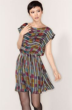 Alice + Olivia 'Bea' Stripe Silk Dress