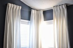 Transform your ordinary IKEA Ritva panels into fancy French pleated curtains with the help of triple pleat hooks and a tutorial by Not So Newlywed McGees. Tab Curtains, French Curtains, Pleated Curtains, White Curtains, Blue Paint Colors, Dark Blue Color, Rideaux Design, French Pleat, Idee Diy